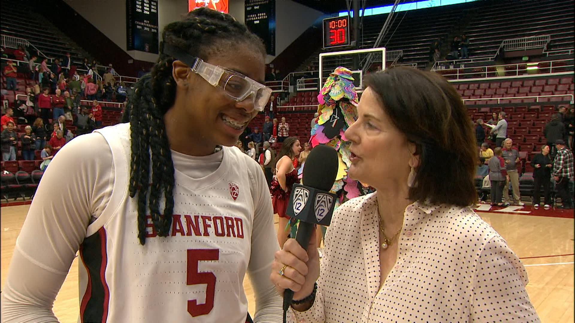 Stanford freshman Francesca Belibi after career-high scoring