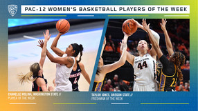 Pac-12 Women's Basketball Players of the Week: Chanelle Molina, Washington State (Player), Taylor Jones, Oregon State (Freshman).
