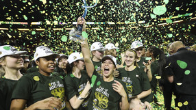 Confetti rains down as a new chapter unfolds in Oregon women's basketball history - Sabrina Ionescu drained a career-best 36 points to lead the Ducks to a 77-57 win over Stanford and the program's first Pac-12 title.