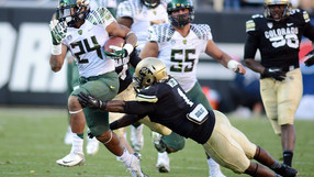 """<p>The Buffaloes might have been thinking upset when they were up 10-8 early, but<a href=""""http://pac-12.com/videos/postgame-interview-oregons-marcus-mariota"""" target=""""_blank"""">Marcus Mariota</a>and the Ducks quickly<a href=""""http://pac-12.com/videos/video-recap-oregon-football-routs-colorado"""" target=""""_blank"""">put an end to that</a>. Oregon's quarterback threw for 355 yards in the blowout win, and that's with him leaving the game midwaythrough the third quarter. <a href=""""http://pac-12.com/videos/postgame-interview-oregon-head-coach-mark-helfrich"""" style=""""line-height: 1.6em;"""" target=""""_blank"""">Here's Mark Helfrich</a><span style=""""line-height: 1.6em;"""">and</span><a href=""""http://pac-12.com/videos/postgame-interview-oregons-bralon-addison"""" style=""""line-height: 1.6em;"""" target=""""_blank"""">here's Bralon Addison</a><span style=""""line-height: 1.6em;"""">on the victory</span><span style=""""line-height: 1.6em;"""">.</span>Both teams hit the road in week 7: <a href=""""http://pac-12.com/event/2013/10/12/oregon-washington"""">Oregon is at Washington</a> and <a href=""""http://pac-12.com/event/2013/10/12/colorado-arizona-state"""">Colorado is at Arizona State</a>.</p>"""