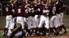 "<p>Tommy Edman's two-run walk-off homer saved the Cardinal's season and eliminated <a href=""http://www.gostanford.com/ViewArticle.dbml?DB_OEM_ID=30600&amp;ATCLID=209515509"" target=""_blank"">Indiana 5-4 in the final game</a> of the Bloomington, Ind., regional on June 2. The win advanced Stanford in to the super regionals.</p>"