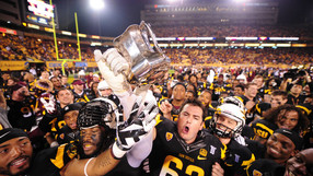 "<p>The <a href=""http://pac-12.com/videos/video-recap-arizona-state-football-wins-territorial-cup-game-against-arizona"" target=""_blank"">Sun Devils clinched home field advantage</a> in next week's Pac-12 title game with their dominance over archrival Arizona in the Territorial Cup. <a href=""http://pac-12.com/videos/postgame-interview-arizona-state-football-dj-foster-arizona-territorial-cup"" target=""_blank"">D.J. Foster's big night</a> fueled the way, and <a href=""http://pac-12.com/videos/postgame-interview-arizona-state-football-jaelen-strong-arizona-territorial-cup"" target=""_blank"">Jaelen Strong discussed the rivalry</a> afterward.</p>"
