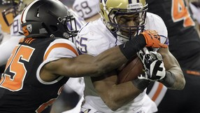 "<p>The <a href=""http://pac-12.com/videos/washington-football-oregon-state-highlights-69-27"" target=""_blank"">Huskies racked up 692 yards of total offense</a> Saturday at Reser Stadium. <a href=""http://pac-12.com/article/2013/11/24/huskies-run-wild-versus-beavers"" target=""_blank"">Over 500 of those came on the ground</a> as Washington stormed out to a 62-6 lead. Bishop Sankey led the way with 179 yards on the ground. Steve Sarkisian's squad <a href=""http://pac-12.com/event/2013/11/29/washington-state-washington"" target=""_blank"">hosts Washington State</a> next week while <a href=""http://pac-12.com/event/2013/11/29/oregon-state-oregon"" target=""_blank"">Oregon State visits the Ducks</a> in Eugene.</p>"
