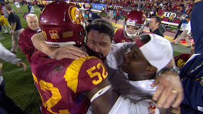 """<p>The<a href=""""http://pac-12.com/videos/video-recap-usc-football-upsets-stanford"""" target=""""_blank"""">Trojans unleashed bedlam in the Coliseum</a>with their upset win over Stanford.<a href=""""http://onlyfans.cstv.com/schools/usc/sports/m-footbl/recaps/111613aae.html"""" target=""""_blank"""">Andre Heidari's 47-yard field goal</a>broke a 17-17 tie with 19 seconds to play, and<a href=""""http://pac-12.com/videos/highlights-usc-stanford-football"""" target=""""_blank"""">the field storming was on</a>shortly thereafter.<a href=""""http://pac-12.com/event/2013/11/23/usc-colorado"""" target=""""_blank"""">USC heads to Colorado</a>next week while <a href=""""http://pac-12.com/event/2013/11/23/california-stanford"""">Stanford returns home to face archrival Cal</a>.</p>"""