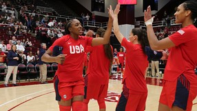 Nneka Ogwumike visits Stanford as a member of Team USA