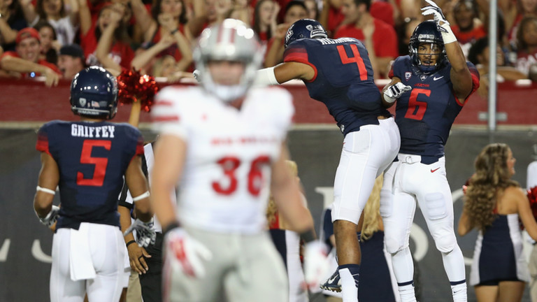 """<p>No Pac-12 team except Oregon put up more points this weekend than Rich Rodriguez's Arizona squad. <a href=""""http://pac-12.com/videos/highlights-arizona-football-roars-past-unlv"""">The Wildcats</a><a href=""""http://pac-12.com/videos/highlights-arizona-football-roars-past-unlv"""" target=""""_blank"""">pummeled</a><a href=""""http://pac-12.com/videos/highlights-arizona-football-roars-past-unlv"""">UNLV</a> 58-13behind <a href=""""http://pac-12.com/article/2014/08/29/anu-solomon-and-terris-jones-grigsby-arent-bad-replacements"""">new quarterback Anu Solomon</a>. <a href=""""http://pac-12.com/football/event/2014/09/04/arizona-utsa"""">Arizonatravels to face Texas-San Antonio on Thursday.</a></p>"""
