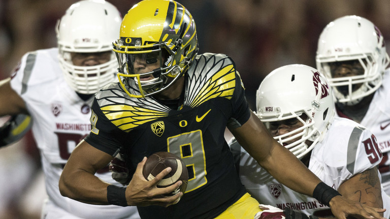 """<p>No Sports Illustrated cover jinx here: Marcus Mariota, who graced the cover of SI earlier in the week, had <a href=""""http://pac-12.com/videos/highlights-oregon-survives-scare-washington-state"""" target=""""_blank"""">five touchdown in the Palouse</a>on Saturday. He helped hold off the Cougs with<a href=""""http://pac-12.com/oregon-vs-washington-state-marcus-mariota"""" target=""""_blank"""">this fourth-down scramble</a>, escaping with a 38-31 win.<a href=""""http://pac-12.com/football/event/2014/10/02/arizona-oregon"""" target=""""_blank"""">Oregon has 12 days to get healthy before hosting Arizona on Oct. 2</a>.</p>"""