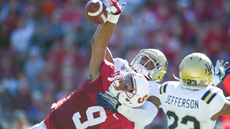 """<p><span style=""""line-height: 1.6em;"""">In bouncing back from their loss at Utah, the</span><a href=""""http://pac-12.com/videos/highlights-stanford-football-gets-past-ucla-amazing-catch"""" style=""""line-height: 1.6em;"""" target=""""_blank"""">Cardinal handed the Bruins their first defeat</a>of the season<span style=""""line-height: 1.6em;"""">. Tyler Gaffney's 171 yards on 36 carries iced a</span><a href=""""http://pac-12.com/videos/postgame-report-stanfords-defense-carries-day"""" style=""""line-height: 1.6em;"""" target=""""_blank"""">smothering Stanford defensive performance</a><span style=""""line-height: 1.6em;"""">that held UCLA nearly 300 yards below its season average coming in. Oh, and there was</span><a href=""""http://pac-12.com/article/2013/10/19/kodi-whitfield-stanford-football-one-handed-touchdown-catch"""" style=""""line-height: 1.6em;"""" target=""""_blank"""">this Kodi Whitfield catch</a><span style=""""line-height: 1.6em;"""">. Here's</span><a href=""""http://pac-12.com/videos/postgame-interview-stanfords-david-shaw-happy-not-satisfied"""" style=""""line-height: 1.6em;"""" target=""""_blank"""">David Shaw after the game</a><span style=""""line-height: 1.6em;"""">. Both teams head to Oregon next week: <a href=""""http://pac-12.com/event/2013/10/26/ucla-oregon"""">the Bruins to Eugene</a>and</span><a href=""""http://pac-12.com/event/2013/10/26/stanford-oregon-state"""" style=""""line-height: 1.6em;"""" target=""""_blank"""">the Cardinal to Corvallis</a><span style=""""line-height: 1.6em;"""">.</span></p>"""