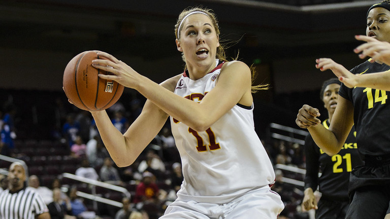 <p>USC's Cassie Harberts vs. Oregon at Galen Center (2013-14). Harberts was voted Pac-12 Player of the Week.</p>