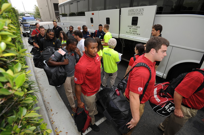 <p>Washington State's Elliot Bosch and Deone Bucannon arrive at the 2013 Pac-12 Football Media Day.</p>