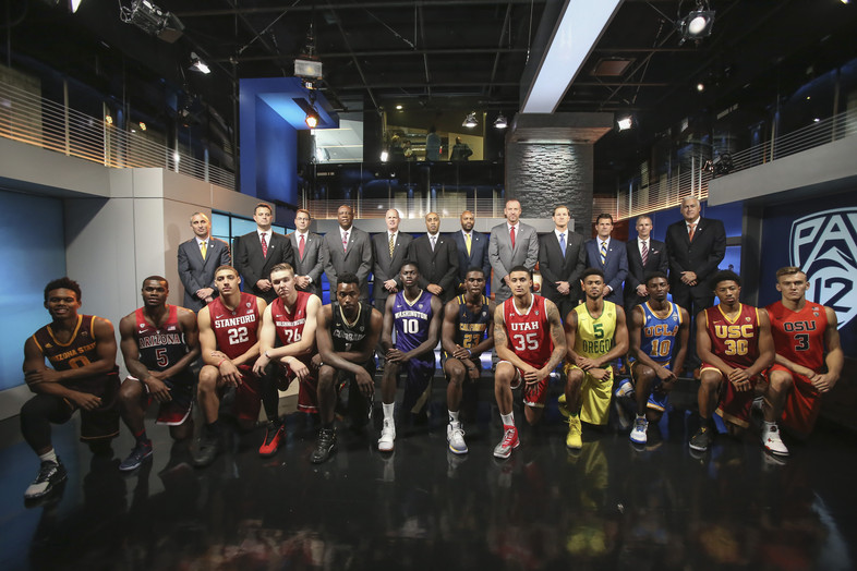 Pac-12 players and coaches in studio during Media Day