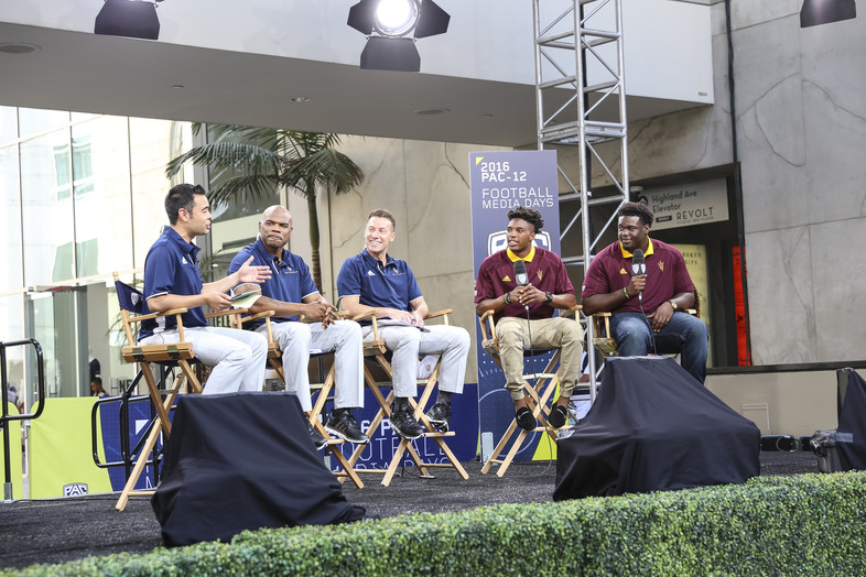 Tim White and Tashon Smallwood join the Pac-12 crew on stage.