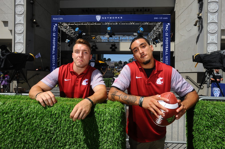 Parker Henry and Gabe Marks get ready to show off their skills at 2016 Pac-12 Football Media Days.