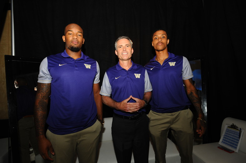 Coach Chris Petersen, Kevin King and Darrell Daniels behind the scenes at Media Day.