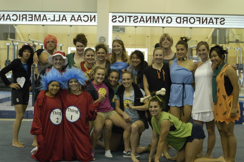 <p>The Cardinal gymnasts gather for a group shot in a wide variety of costumes at their pratice facility.</p>