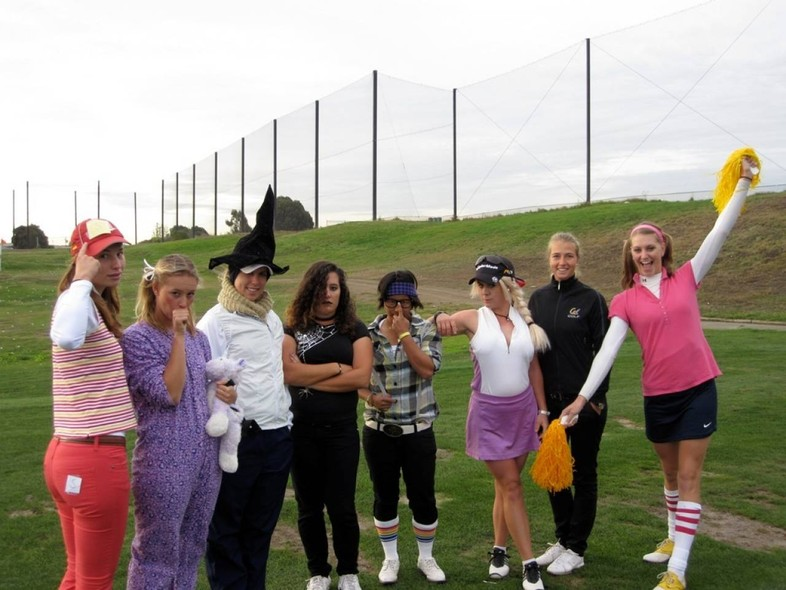 <p>Members of the Golden Bears women's golf team strike a poise before getting in a little practice.</p>