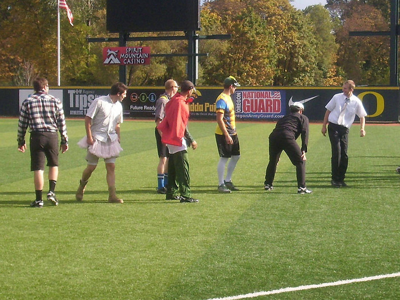 <p>Costume hijinx didn't stop the Ducks from stretching before practice.</p>