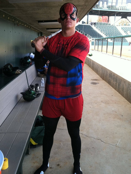 <p>Ryon Healy ditches his Ducks uniform to become Spider-Man for a day.</p>