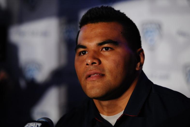 Arizona senior defensive lineman Sani Fuimaono answers a few reporter questions.