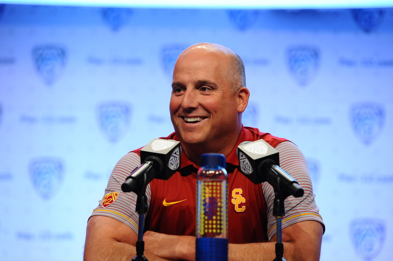 USC first-year head coach Clay Helton happy to take a few questions at the podium.