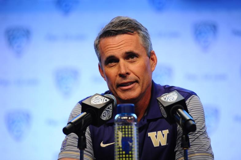 Washington head coach Chris Petersen addresses the media.