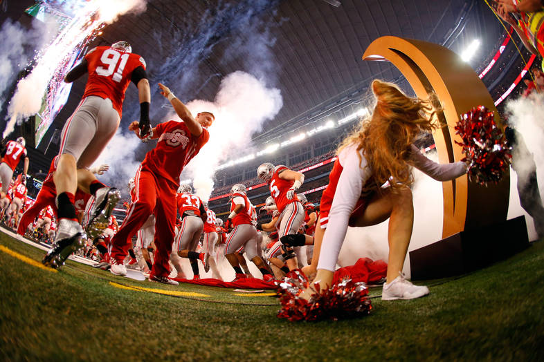 <p>The Ohio State football team takes the field for the National Championship.</p>
