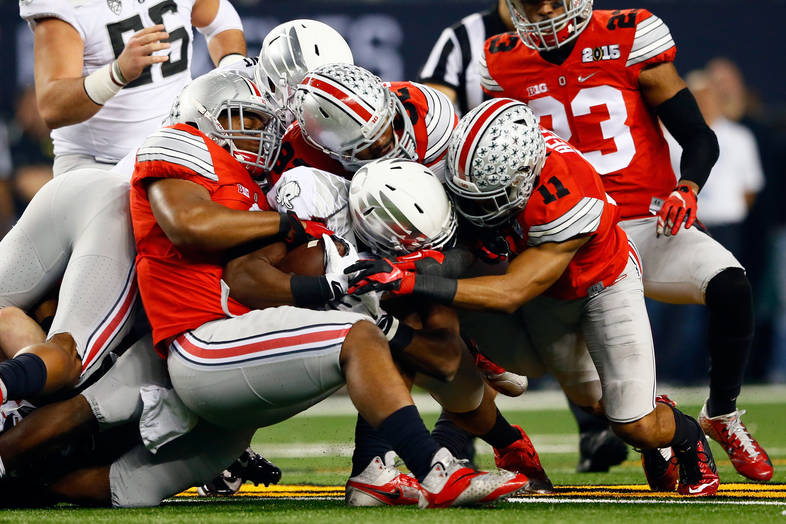 <p>Ohio State defense with the goal-line stand.</p>