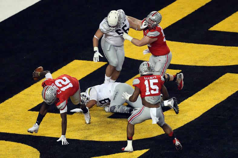 <p>Jones with the scramble in the endzone.</p>