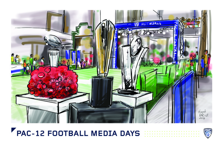 <p>The trophies from the Pac-12 Football Championship Game, Rose Bowl and College Football Playoff Championship Game were all on display.</p>