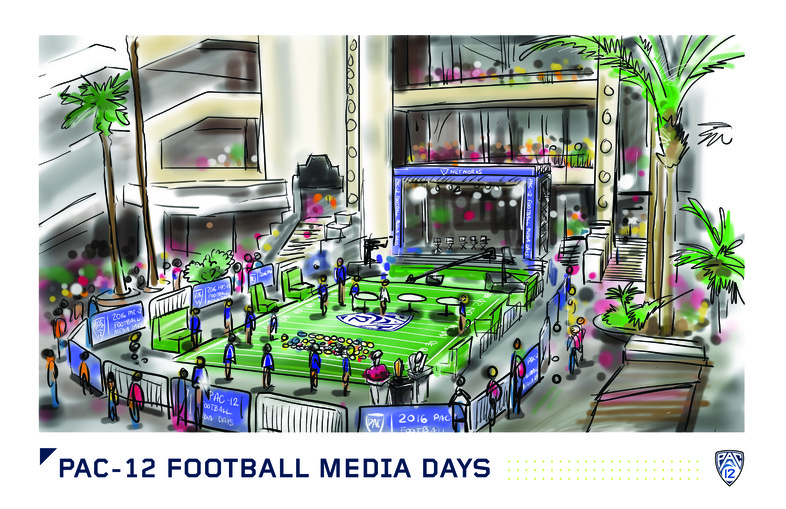 <p>Onlookers from three different levels could spy the happenings at Pac-12 Football Media Days.</p>