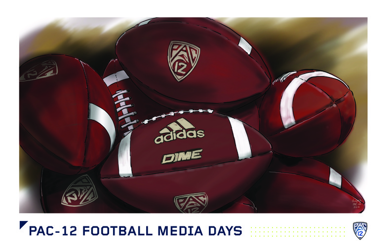 <p>A close-up view of the Pac-12 game balls.</p>