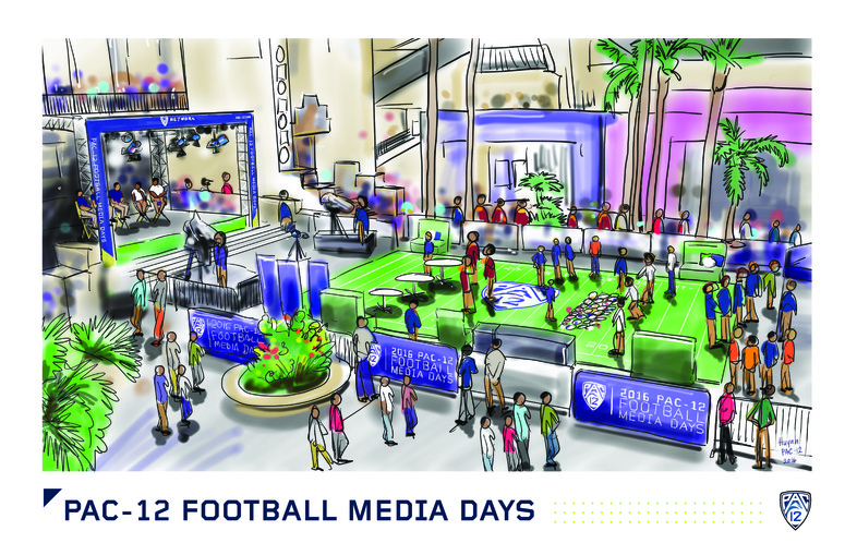 <p>Fans, production staff, coaches and student-athletes gather to both see and be seen in the central plaza of Hollywood &amp; Highland.</p>