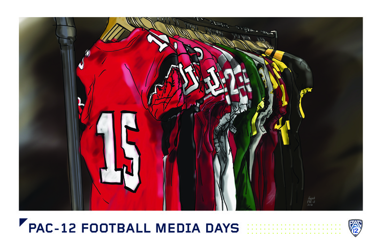 <p>All the uniforms of the Pac-12 sit hanging on a rack in the portrait studio at Pac-12 Football Media Days.</p>