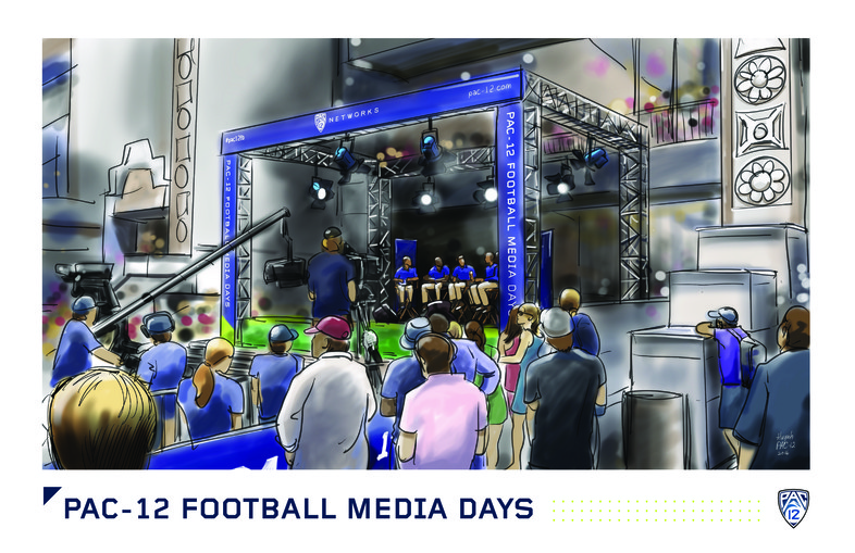 <p>Spectators at Hollywood &amp; Highland gather to the Pac-12 Networks live show during Pac-12 Football Media Days.</p>