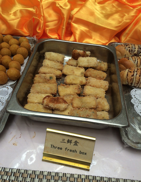 <p>Some of the unfamiliar dining options the team had to choose from Thursday in Sanming.</p>