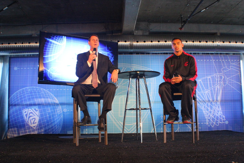 <p>Washington State Cougars head coach Ken Bone (left) rocking his dress shoes while junior guard DaVonte Lacy (right) sports his Nike's.</p>