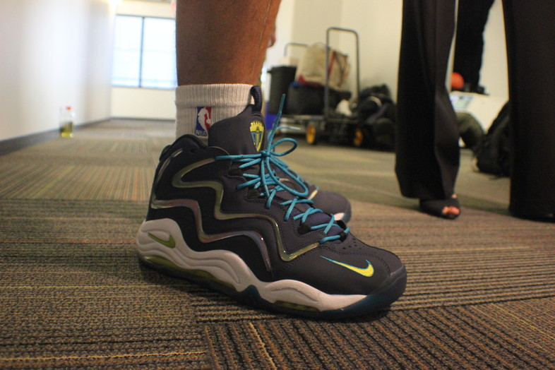 <p>Arizona Wildcats junior guard Nick Johnson's Nike kicks.</p>