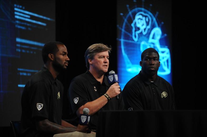 <p>Colorado head coach, Mike MacIntyre, wide receiver, Paul Richardson and defensive end Chidera Uzo-Diribe.</p>
