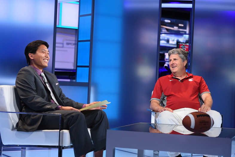 There wasn't a dull moment on SportsCenter with Washington State head coach Mike Leach in Bristol, CT.