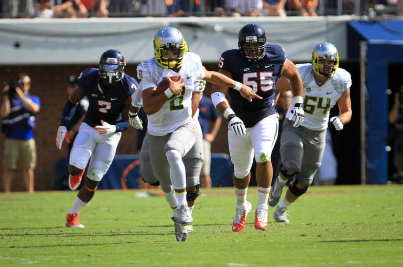 "<p>Ducks quarterback Marcus Mariota got the offense rolling with a TD run of 71 yards on just the third play of the game as <a href=""http://pac-12.com/event/2013/09/07/oregon-virginia"" target=""_blank"">Oregon defeated the Cavaliers convincingly</a> in Charlottesville. Mark Helfrich's squad will continue their national speed exhibition when they welcome <a href=""http://pac-12.com/event/2013/09/14/tennessee-oregon"" target=""_blank"">Tennessee to Autzen on Saturday, Sept. 14</a>.</p>"