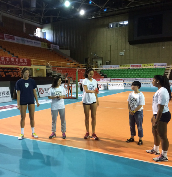 <p>Colorado's Taylor Simpson, USC's Samantha Bricio and Arizona's Penina Snuka gave Jianzi a try Tuesday with some local college students before practice in Beijing. Jianzi is a traditional Asian game where players try to keep a weighted shuttlecock in the air without using their hands.</p>