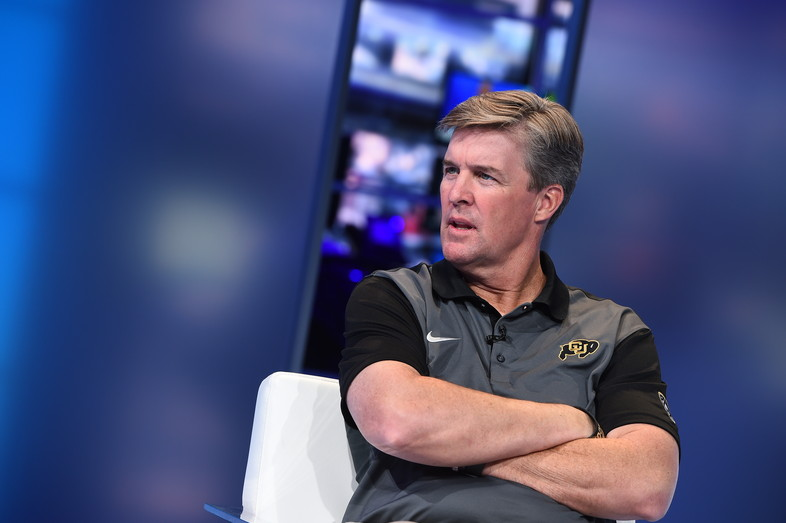 Colorado head coach Mike MacIntyre gets ready to go live on SportsCenter in Bristol, CT.