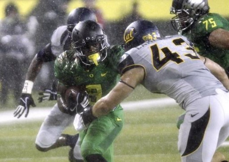 """<p>The<a href=""""http://pac-12.com/videos/oregon-california-highlights-rainstorm"""" target=""""_blank"""">Golden Bears turned the ball over on each of their first five possessions</a>at Autzen Stadium, and Oregon is not a team that needs help. Cal quarterback Jared Goff, who led the nation in passing yards coming into the contest, completed only three passes for 11 yards before being removed in a<a href=""""http://pac-12.com/article/2013/09/28/california-oregon-football-torrential-downpour"""" target=""""_blank"""">torrential downpour</a>. The undefeated<a href=""""http://pac-12.com/event/2013/10/05/oregon-colorado"""" target=""""_blank"""">Ducks move on to Colorado</a>while Cal<a href=""""http://pac-12.com/event/2013/10/05/washington-state-california"""" target=""""_blank"""">hosts Washington State</a>next Saturday.</p>"""
