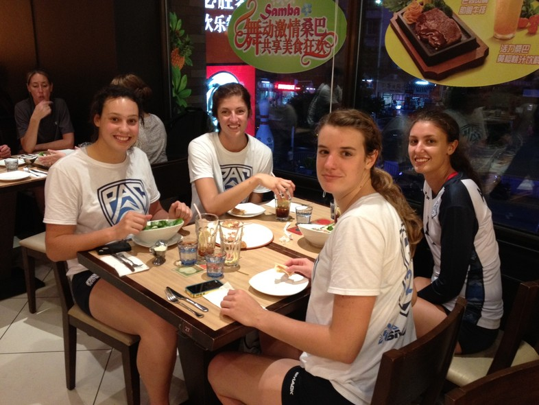 """<p>Following <a href=""""http://pac-12.com/article/2014/06/20/pac-12-all-star-team-keeps-rolling-tops-chinese-junior-national-team"""" target=""""_blank"""">Friday's win over the Chinese Junior National Team</a>, The Pac-12 all-stars managed to grab a quick bite in Sanming.</p>"""