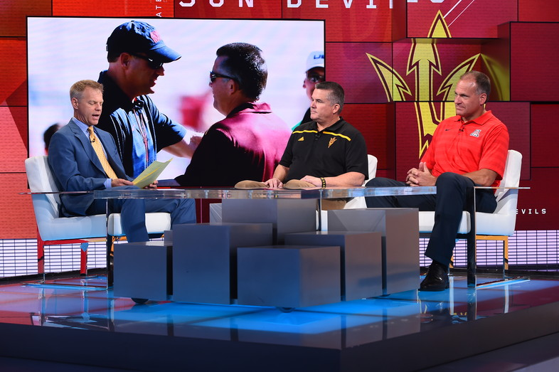 Two-of-a-kind: Arizona's Rich Rodriguez and Arizona State's Todd Graham took the SportsCenter stage together at ESPN in Bristol, CT.