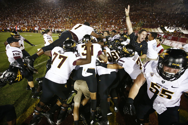 """<p>In a<a href=""""http://pac-12.com/videos/highlights-arizona-football-shocks-california-hail-mary-pass"""" target=""""_blank"""">season of Hail Marys</a>,<a href=""""http://pac-12.com/article/2014/10/04/mike-bercovicis-hail-mary-jaelen-strong-gives-asu-win-over-usc"""" target=""""_blank"""">Mike Bercovici's may be the most impactful</a>. Arizona State trailed USC by double digits late in the game Saturday, butthanks to Bercovici's 510 yards and five touchdowns, <a href=""""http://pac-12.com/article/2014/10/04/mike-bercovicis-hail-mary-jaelen-strong-gives-asu-win-over-usc"""">the Sun Devils rallied for huge conference win</a>.<a href=""""http://pac-12.com/football/event/2014/10/11/usc-arizona"""">USC travels to Arizona next week</a>with first place in the South division on the line, and <a href=""""http://pac-12.com/football/event/2014/10/18/stanford-arizona-state"""">ASU gets Stanford in two weeks.</a></p>"""
