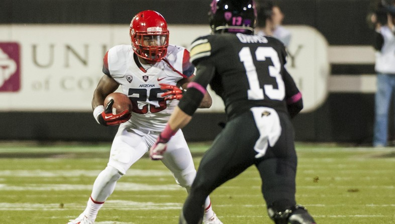 """<p><span style=""""line-height: 1.6em;"""">A year after racking up a Pac-12 record 366 rushing yards and five touchdowns against Colorado, Ka'Deem Carey scored four times in a 119-yard performance that complemented</span><a href=""""http://pac-12.com/videos/postgame-interview-arizona-football-bj-denker"""" style=""""line-height: 1.6em;"""" target=""""_blank"""">B.J. Denker's solid game</a><span style=""""line-height: 1.6em;"""">and</span><a href=""""http://pac-12.com/videos/arizona-football-rich-rodriguez-postgame-interview"""" style=""""line-height: 1.6em;"""" target=""""_blank"""">satisfied Rich Rodriguez</a><span style=""""line-height: 1.6em;"""">. Afterwards,</span><a href=""""http://pac-12.com/videos/postgame-interview-arizonas-scooby-wright"""" style=""""line-height: 1.6em;"""" target=""""_blank"""">Scooby Wright talked</a><span style=""""line-height: 1.6em;"""">about his team's defensive effort. The</span><a href=""""http://pac-12.com/videos/video-arizona-football-celebrates-following-win-over-colorado-0"""" style=""""line-height: 1.6em;"""" target=""""_blank"""">Wildcats, now 5-2,</a><span style=""""line-height: 1.6em;"""">travel to Berkeley next weekend</span><a href=""""http://pac-12.com/event/2013/11/02/arizona-california"""" style=""""line-height: 1.6em;"""" target=""""_blank"""">to take on Cal</a><span style=""""line-height: 1.6em;"""">. Colorado, meanwhile, will</span><a href=""""http://pac-12.com/event/2013/11/02/colorado-ucla"""" style=""""line-height: 1.6em;"""" target=""""_blank"""">face a stiff test inUCLA</a><span style=""""line-height: 1.6em;"""">at the Rose Bowl.</span></p>"""