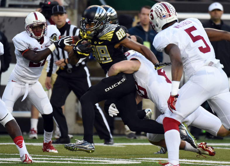 """<p><a href=""""http://pac-12.com/article/2014/11/01/marcus-mariota-helps-oregon-break-through-against-stanford"""">Marcus Mariota accounted for four touchdowns</a>Saturday as he notched his <a href=""""http://pac-12.com/videos/oregon-football-marcus-mariota-stanford-win-interview"""">first win over Stanford in his career</a>. Royce Freeman and Thomas Tyner combined for 161 yards on the ground as Oregon <a href=""""http://pac-12.com/videos/highlights-oregon-football-cruises-past-stanford-big-pac-12-north-matchup"""">defeated the Cardinal for the first time since 2011</a>, <a href=""""http://pac-12.com/sport/football/standings"""">grabbing a two-game lead in the North Division.</a><a href=""""http://pac-12.com/football/event/2014/11/08/oregon-utah"""">Oregon travels to Utah</a> next week, while the Cardinal hasa bye.</p>"""