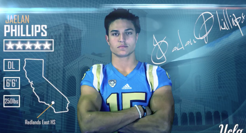 The Bruins welcome No. 1 DL in the nation, Jaelan Phillips, to Westwood with this highlight reel. (https://twitter.com/UCLAFootball/status/826781727292993536).