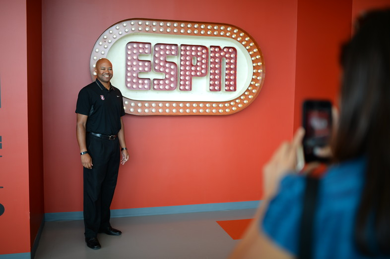 Stanford head coach David Shaw stops for a snapshot in front of the original ESPN logo in Bristol, CT.